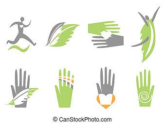 main, coeur, human., vecteur, icônes