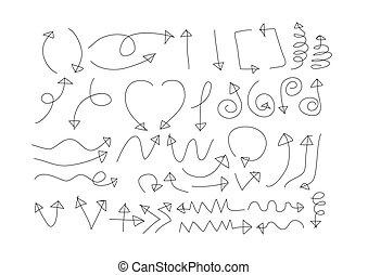 main, collection, croquis, flèche, dessiné