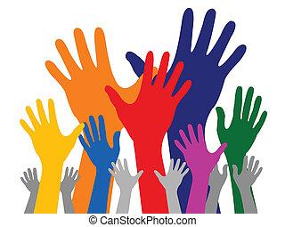 main, coloré