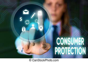 main, consumers., protection., business, photo, conceptuel, texte, écriture, droits, but, projection, protéger, consommateur, règlement