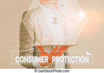 main, consumers., showcasing, protection., business, photo, conceptuel, écriture, droits, but, projection, protéger, consommateur, règlement