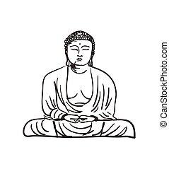 main, dessiné, bouddha, statue, icône