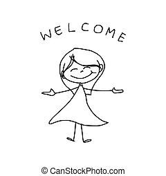 main, dessin animé, bonheur, dessin