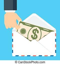 main, enveloppe, billet banque, garder