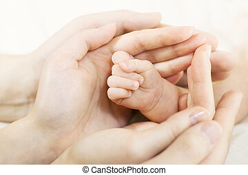 main, famille, hands., bébé, parents, concept