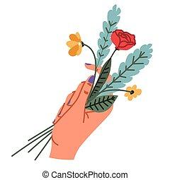 main femelle, manucuré, tenue, bouquet, élégant, clous
