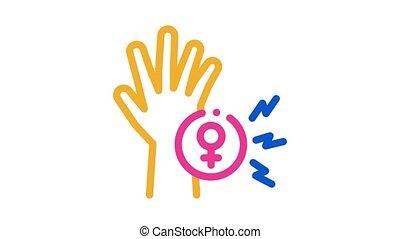 main, femme, animation, icône