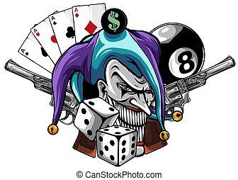main, fusils, fâché, clown, dessiné, illustration, vecteur, isolated.