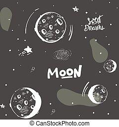 main, griffonnage, ciel, lune, stylisé, arrière-plan., seamless, étoiles, sombre, planètes, dessiné, sketch., paper., briller, modèle, emballage, nuit