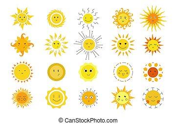 main, griffonnage, ensemble, soleil, émotions, dessiné