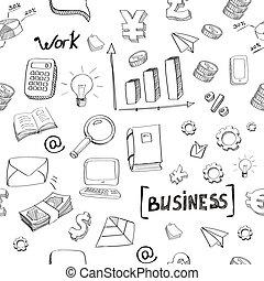 main, griffonnage, modèle, éléments, dessiné, business, seamless, finance