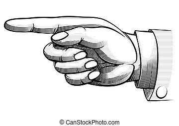 main, hand-drawn, pointage, vendange, gauche