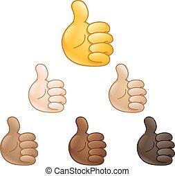 main haut, pouces, emoji