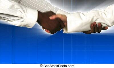 main, hommes affaires, secousse