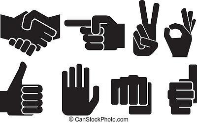 main, humain, collection, signe