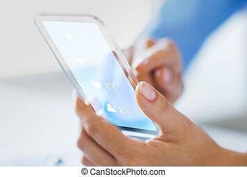 main, icônes, média, smartphone, social