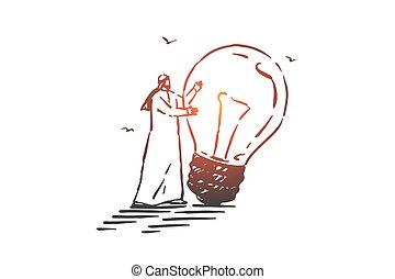 main, idée génie, vecteur, idée, concept, génération, dessiné, sketch., isolé