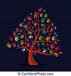 main imprime, multi-ethnique, arbre, coloré