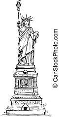 main, liberté, drawing., statue