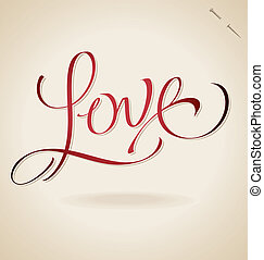 main, 'love', (vector), lettrage