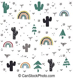 main, modèle, cactus, arc-en-ciel, dessiné