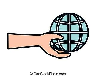main, mondiale, charité, portion, donation