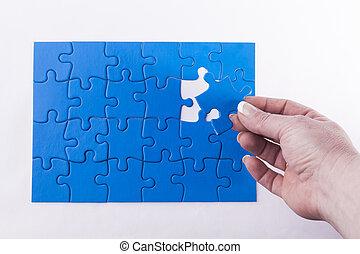 main, morceau, confection, problème, puzzle, disparu, puzzle, résoudre, placer, signifier, décision, femme