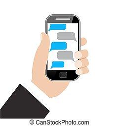 main, noir, vide, holing, smartphone, parole, bulles