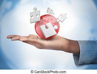 main, numérique, puzzles, globe, blanc rouge