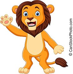 main, onduler, rigolote, lion, dessin animé