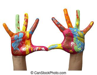 main, peint, enfant, couleur