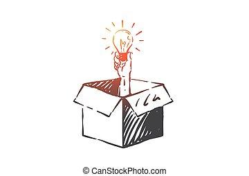 main, pensée, vecteur, dehors, concept, dessiné, sketch., isolé, boîte