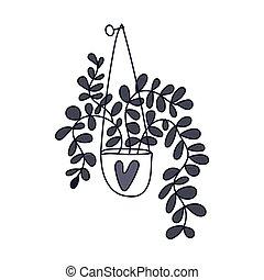 main., potted, plante, dessiné, maison