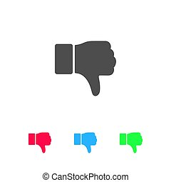 main, pouce, bas, plat, aversion, icône