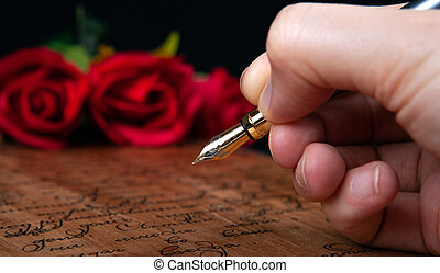 main, rouges, texte, lettre, rose, stylo fontaine