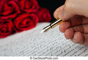 main, rouges, texte, lettre, stylo fontaine, roses