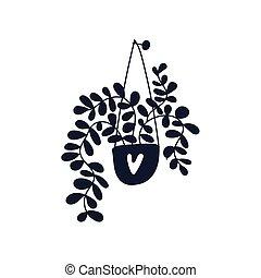 main., silhouette, plante, maison, confortable, potted, dessiné, pendre