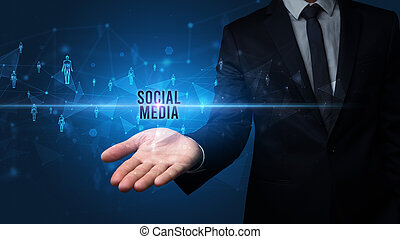 main, social, inscription, média, apparenté, tenue