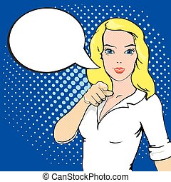 main, style, girl, doigt, art, devant, parole, comique, woman., bubble., téléspectateur, pointage, pop, illustration