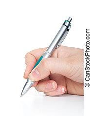 main, stylo, écriture, page