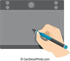 main, tablette, utilisation, stylo