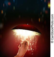 main, tient, lueur, parapluie, magique