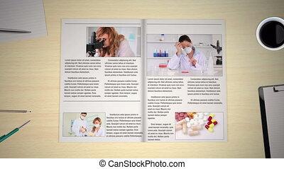 main, tourner, nouvelles, pages, monde médical