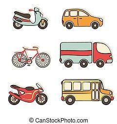 main, transport, dessin, icônes