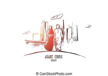 main, vector., arabe, couple, concept., dessiné, isolé