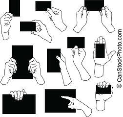 main, vide, carte, business, tenue