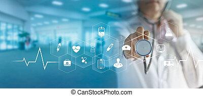 main, virtuel, docteur, monde médical, icône, réseau, écran, technologie, moderne, médecine, connexion, interface, stéthoscope, concept, toucher