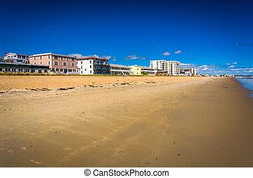 maine., plage, bâtiments, vieux, verger, long, plage