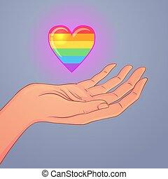 mains élevées, réaliste, heart., style, gay, illustration., ouvert, deux, tenue, pride., lgbt, arc-en-ciel, haut, vecteur, coloré, concept.