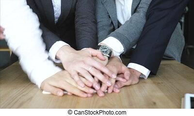 mains, équipe, fond, uni, espace de travail, business